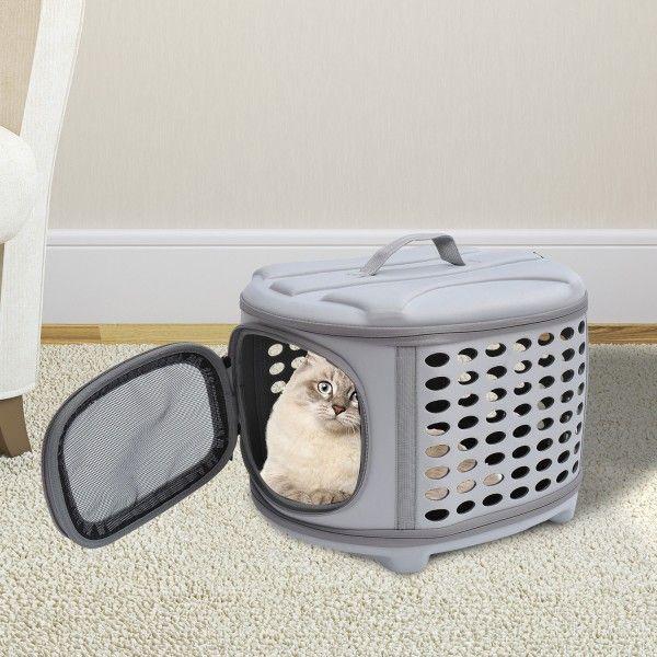 ¿Eres de los que se lleva su mascota a todas partes? Este transportin es ideal para transportar perros y gatos. Es muy resistente, práctico y cómodo para tus mascotas. Se puede limpiar fácilmente con un paño húmedo. Tiene ventilación para mayor comodidad de tu mascota. Medidas: 46x37x31cm (LxAnxAl). Puedes comprarlo online en https://www.aosom.es/mascotas/pawhut-bolsa-transportin-de-eva-gris.html con envíos gratis a España y Portugal en 24h/48h.