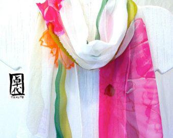 Zijden sjaal handgeschilderde bloemen sjaal van rode en oranje