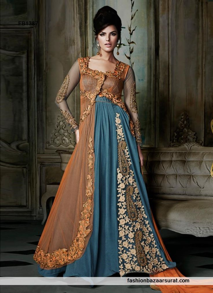 Blue N Orange Designer Net Anarkali Salwar Suit