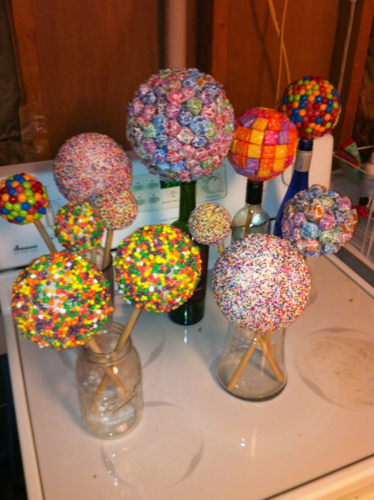 candy topiary balls for carsons candy party
