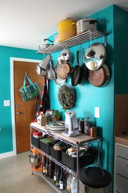 The Duplex, Left Side: Jared & Chikas Colorful Nest House Tour. Shelving/Hanging envy.