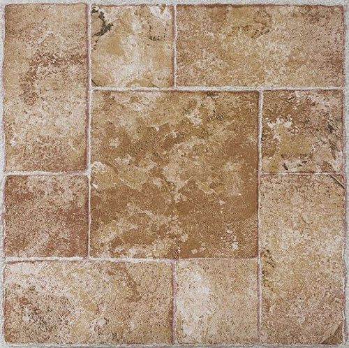 Beige Terracotta Stone Self Stick Adhesive Vinyl Floor Tiles 40 Pcs 12 X 12 Tile Floor Vinyl Flooring Self Adhesive Vinyl Tiles