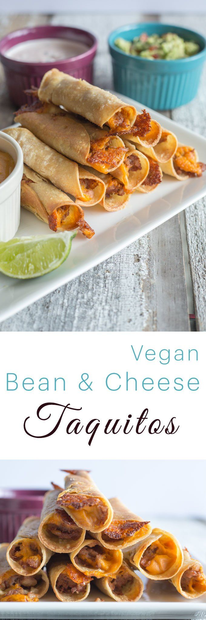 Baked Bean & Vegan Cheese Taquitos with Creamy Salsa and Guacamole | BEST SUPER BOWL SNACKS EVER