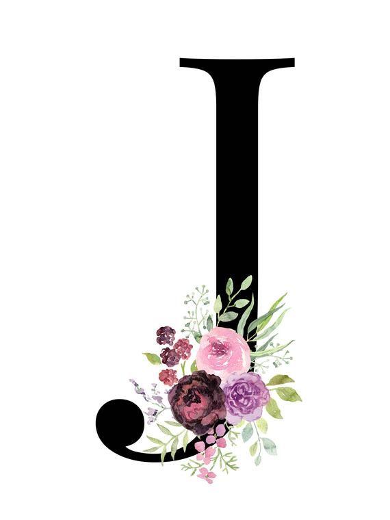 Letter J Floral Alphabet Instant Digital Download Monogram Printable Letters Monogram Printable Floral Monogram