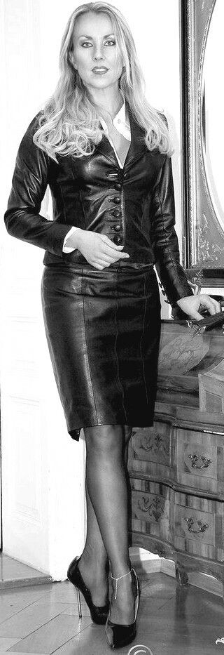 Black Leather Skirt Suit - from Comtesse Monique | Leather ...