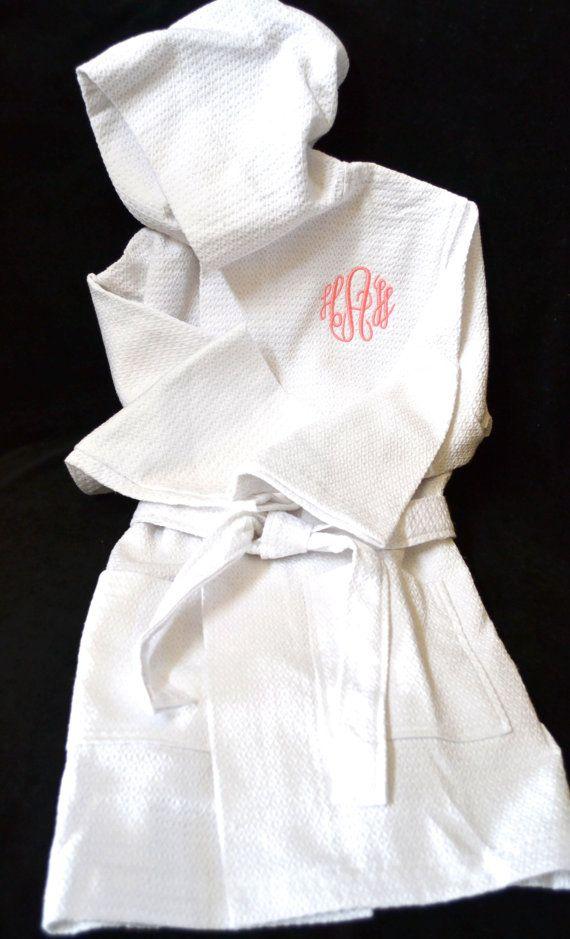 Children's Monogrammed Robe Flower Girl Robe Kid's Robe Personalized Robe Waffle Robe Kimono Spa Robe Personalized Bridesmaids Gift on Etsy, $33.00