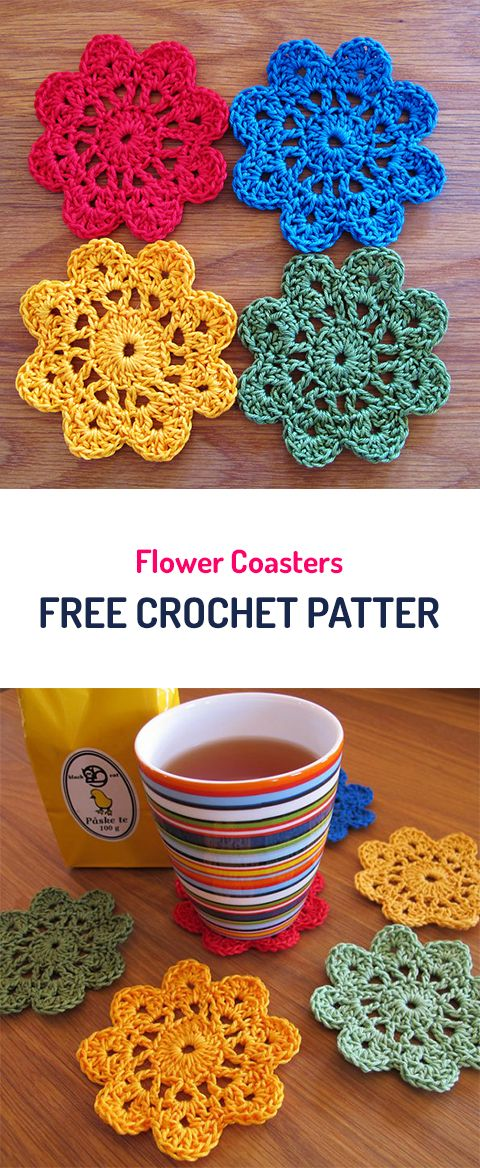 Flower Coasters Free Crochet Pattern #crochet #yarn #crafts #homedecor #home #style