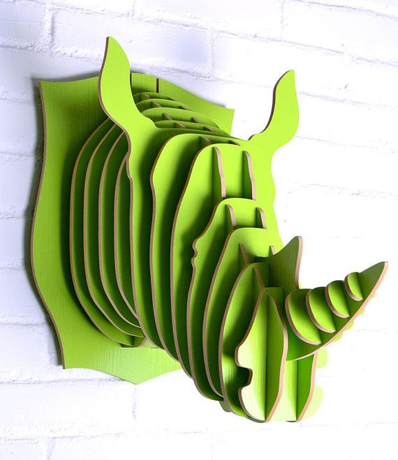 Large Lime Green Modern 3D Wooden RHINOCEROS by PuzzleHeadDesigns,