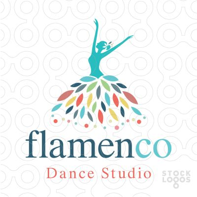 Beautiful, elegant logo design of a dancing woman figure wearing a flowing floral leaf dress. (beauty, woman, elegance, gracefully, form, graceful, beautiful, girl, flamenco, dance, studio, choreography, lesson, ballet, ballroom, instructor, leaves, flower, dress, leaves, colourful)