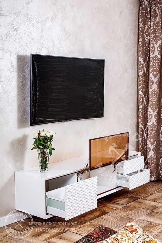 Тумба Eclat - тумба глянцевая белая для телевизора и аудио техники