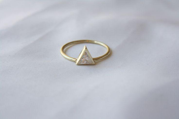 Triangle Ring sz7 x2 ~ Triangle Swarovski Engagement Ring ~ Trillion Diamond Ring ~ 14K Gold Filled Thing Ring ~