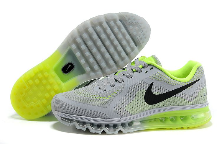 Cheap Nike Air Max 2014 Wolf Grey Black Volt Men\u0026#39;s Running Shoes | gray shoes | Pinterest | Nike, Nike Air Max and Running Shoes
