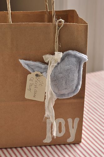 Sweet tags to attached to gift bags- made from old sweaters