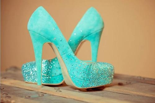 Tiffany blue wedding shoes, swarovski bridal pumps