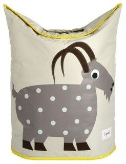 Our 3 Sprouts gray laundry hamper in cute goat pattern