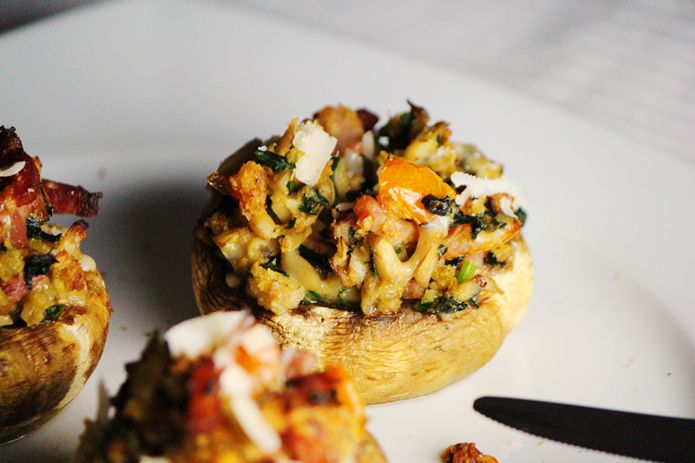 Chef Malhadinho: Cogumelos Recheados com Espinafres e Bacon   Spinach and Bacon stuffed Mushrooms