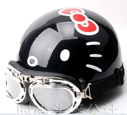 Hello Kitty black Adult Helmet for fashion girls With free Harley Lens Cute | eBay