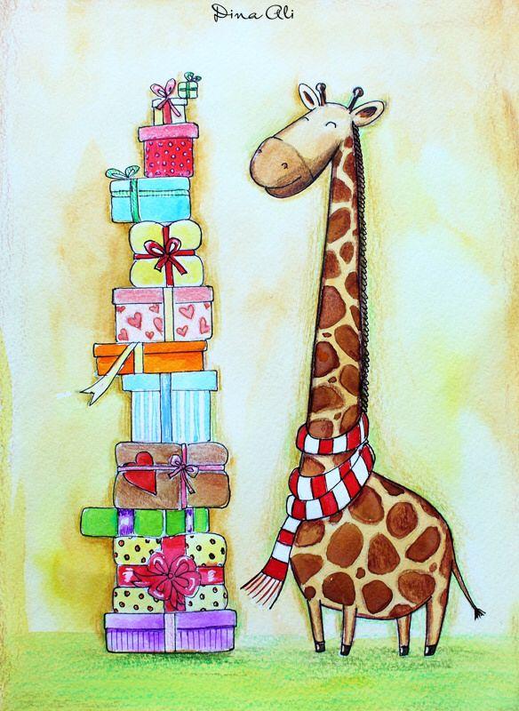 Почтовая открытка жираф