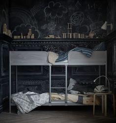 Structure lits superposés Tuffing, en acier peinture époxy, L 207 x l 96,5 x H 130,5 cm, à partir de 6 ans, 109 euros, Ikea.
