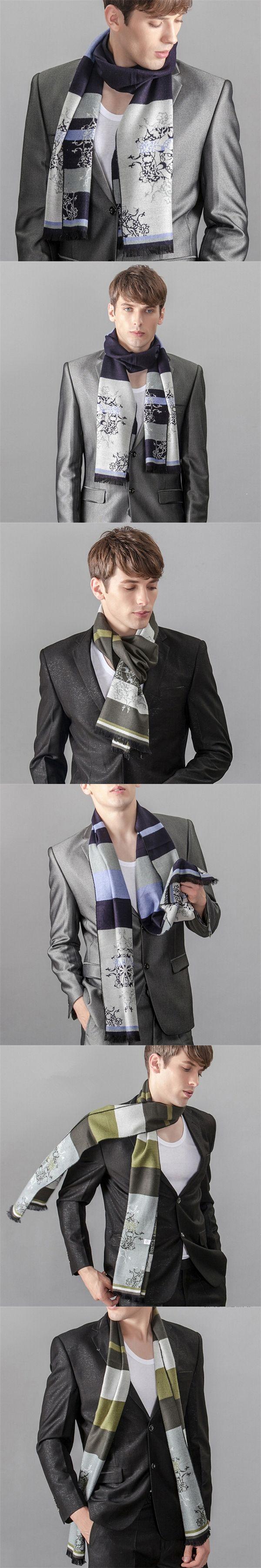 Luxury Brand Scarf Men Winter Warm Shawls Men's cashmere Scarf Hiver Stripe Scarves Echarpe Wool Scarfs Casual Man  JD10075