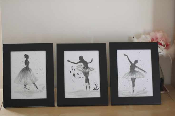 This is a watercolour painting of ballerinas