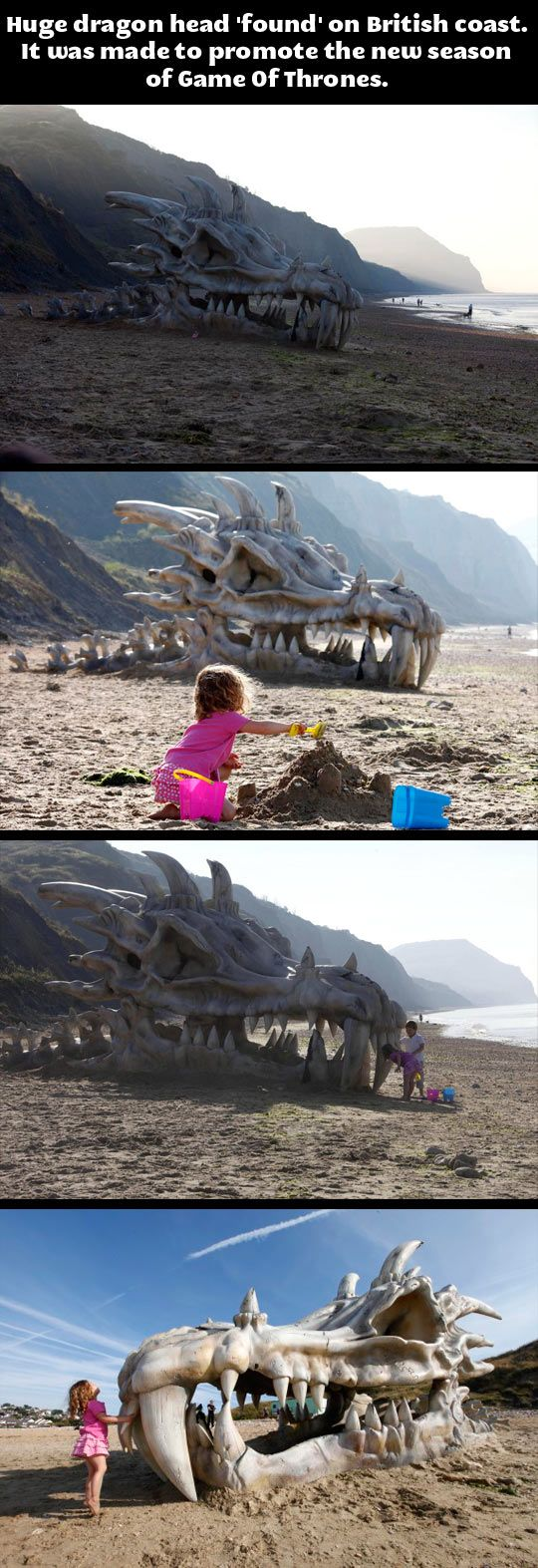 This is just so cool, I don't even watch Game of Thrones. But imagine finding this on the beach! It'd be like... This should be turned into a playground. An entire giant dragon skeleton playground, with swings and everything. :D