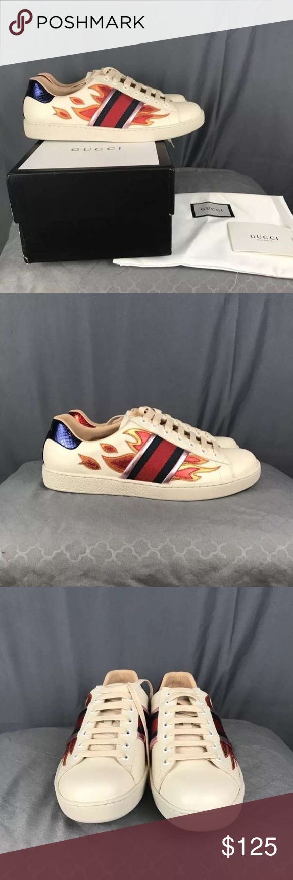 Gucci Flame ace Sneaker i Have sizes 6-13 Available!  Please Text me at (708) 762-1869 to see if i still have your size in stock or for more pictures Before purchase ! 100% authentic  comes with Box , Dustbags , Receipts And Carebooks price is Negotiable! Serious Inquires only! Gucci Shoes Sneakers