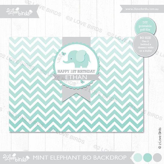 Mint Elephant Chevron Printable Backdrop by 2LoveBirdsDesign