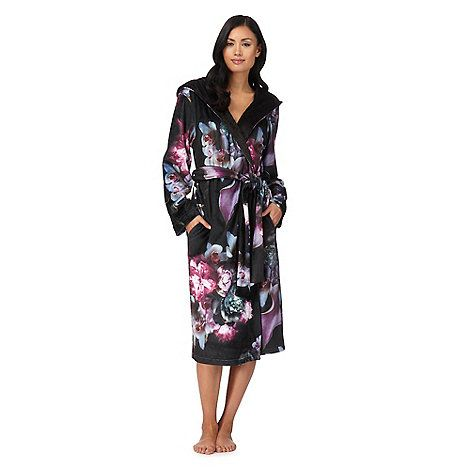 B by Ted Baker Black 'Ethereal Posey' floral print hooded dressing gown | Debenhams