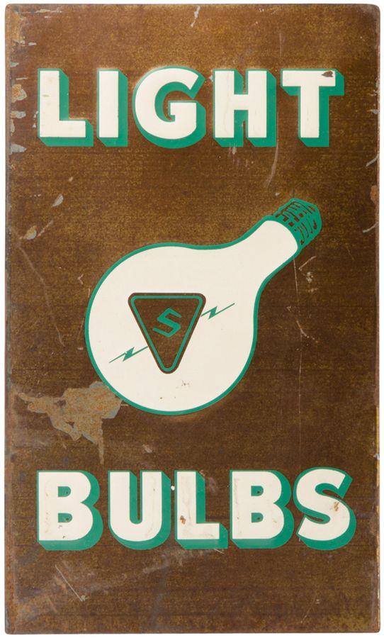 Rejuvenation Mid-Century Light Bulbs Sign