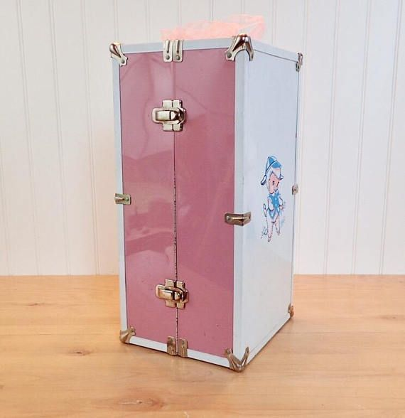 Large Vintage Doll Case Carrier Metal Pink & White Toy Box