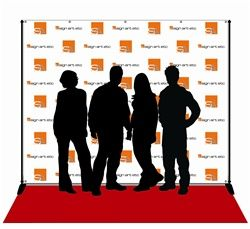 Step and repeat photography backdrop, stand and red carpet