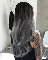 Resultado de imagen para mechas californianas color plata en cabello negro