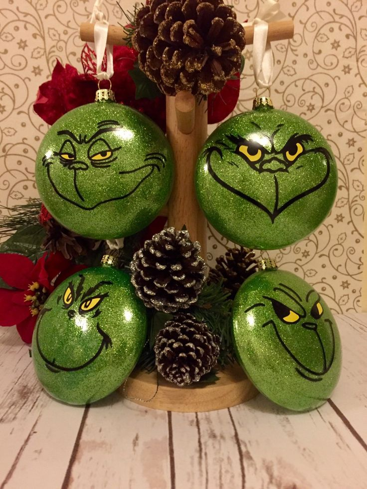 Christmas Ornaments Set Grinch Baubles Set of 4 Christmas Tree Decorations (22.00 GBP) by CaliGirlEmbroidery