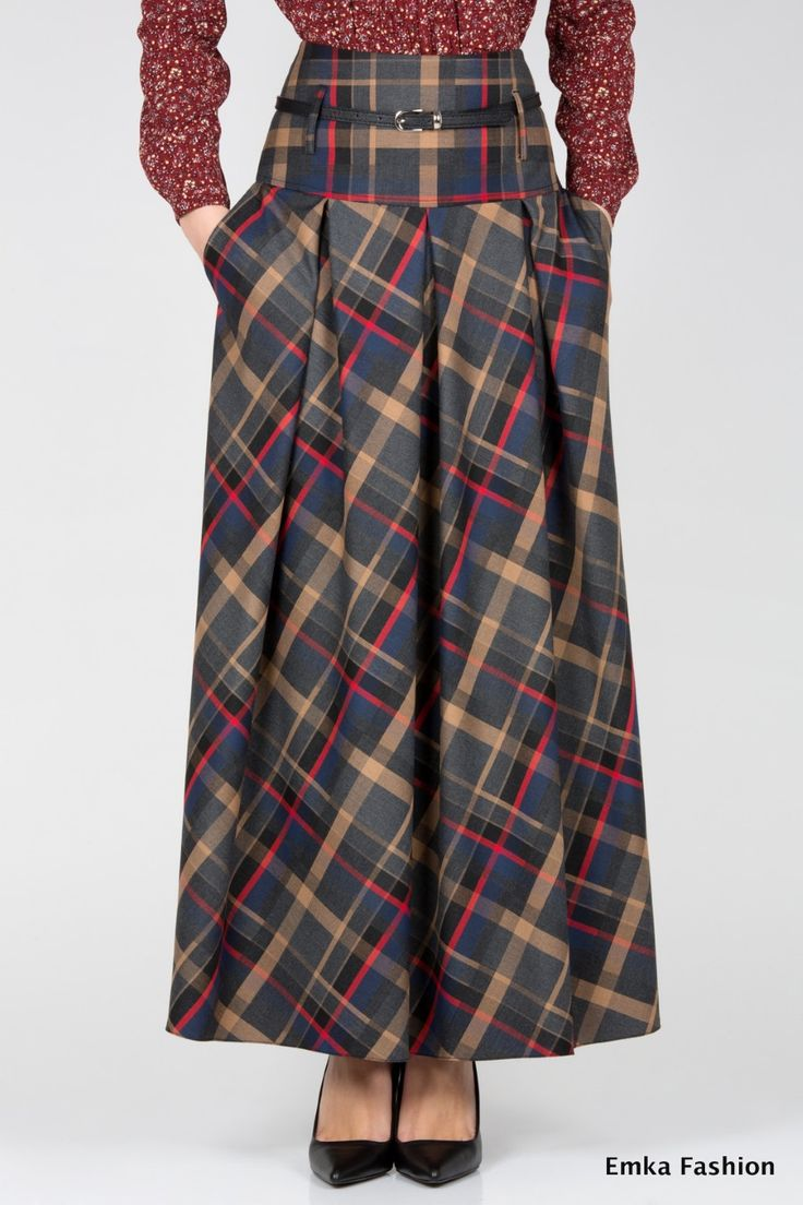 Длинная юбка в клетку Emka Fashion 427-allegra - Malinka-fashion.ru. living the pockets and print. Great winter skirt for work.
