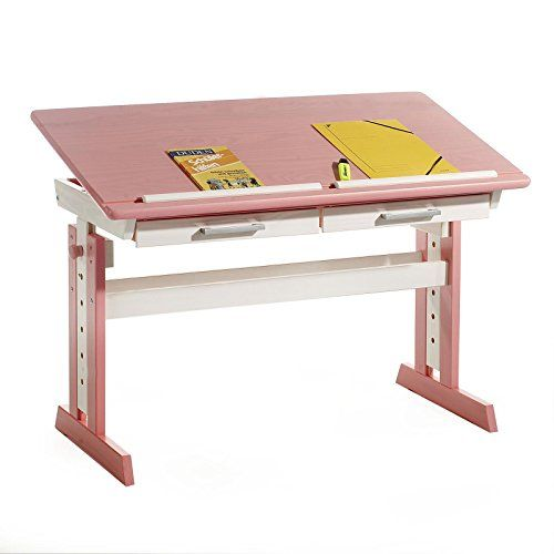 Kinderschreibtisch Schülerschreibtisch Jugendschreibtisch OLIVIA, höhen- und neigungsverstellbar, Kiefer massiv in weiß/rosa