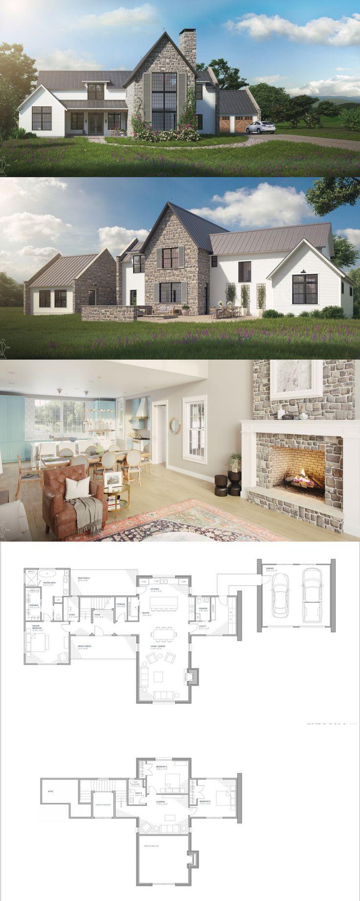 The Aubrac Plan! Maison Provincial European inspired Floor Plans. 3152 SF Designer House Plan. French Modern Farmhouse. Countryside homes. Detached 2 …