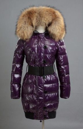 Moncler Women Long Down Coat With Big Fur Collar And Belt Purple. Blouson  HiverPourpreManteauFemmesVeste ... f7432293f08
