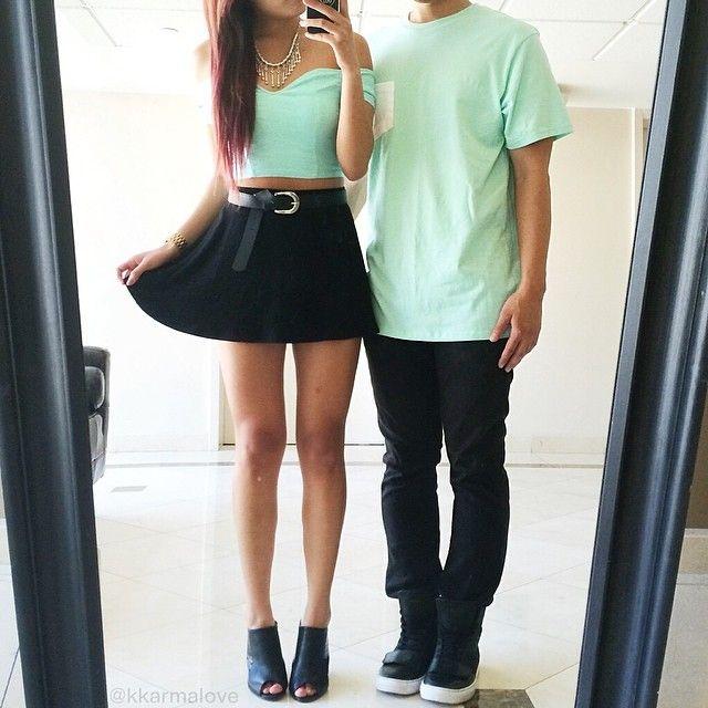 Mint Green Off Shoulder Crop Top With Black Mini Skirt And Open Toe Heels