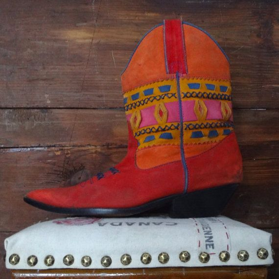 vintage boho, multi coloured boots, by Circle S, size 8.5
