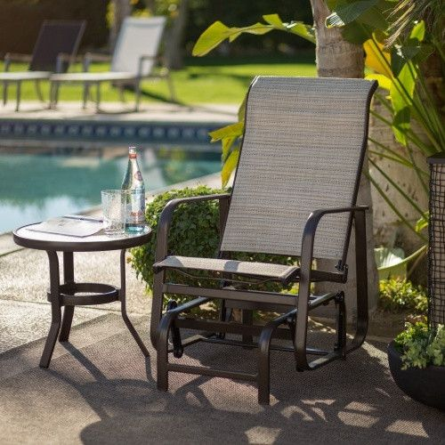 Coral Coast Del Rey Padded Sling Outdoor Glider Chair - Beach $170