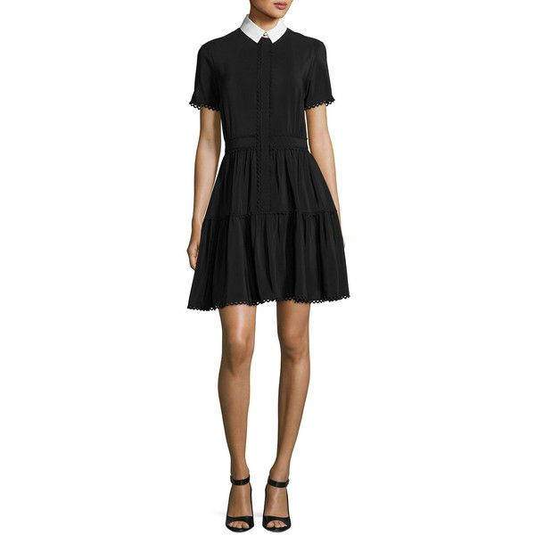 Kenzo Collared Silk Crepe de Chine Mini Dress ($680) ❤ liked on Polyvore featuring dresses, black, short dresses, a line dress, short sleeve mini dress, short a line dresses and silk dress
