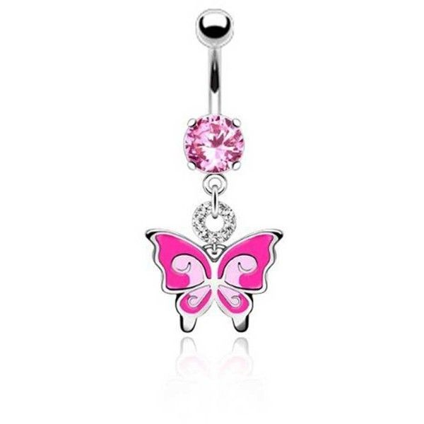 Bling Jewelry Pink Winged Charmer Body Jewelry ($13) ❤ liked on Polyvore featuring jewelry, belly ring, body jewelry, body-piercing-rings, pink, body jewellery, belly button rings jewelry, artificial jewellery and fake jewelry