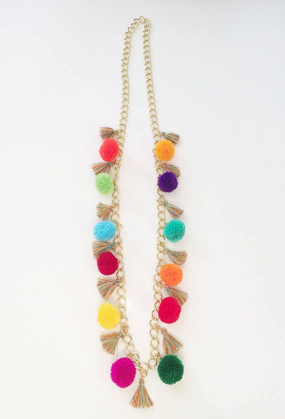 Pom Pom Necklace Rainbow Boho Necklace FREE