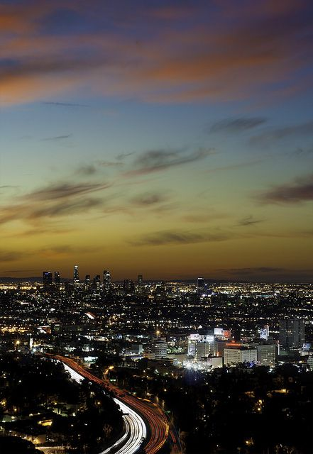 Hollywood and downtown Los Angeles, as seen from the Hollywood Bowl scenic overlookPost, Angels Hollywood Sunris, Cities, California Dreams, Travel, Places, Los Angels, Los Angeles Hollywood, Angeles Hollywood Sunrises