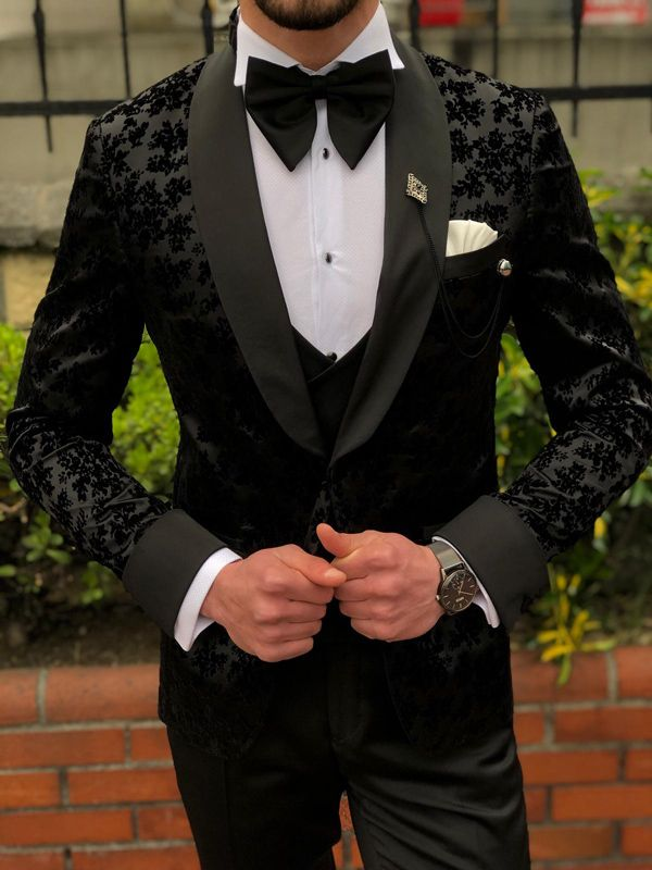 Bow Tie for Men Tuxedo /& Wedding Solid Color Black Elephants