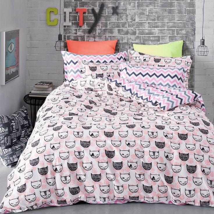MAXYOYO Home Textiles Cute White and Black Cat Bed Sheet