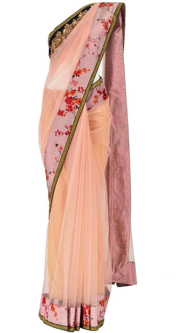 Sabyasachi  Powder Pink Net Saree with cut work embroidery