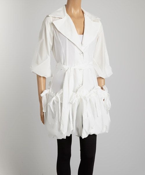 Another great find on #zulily! White Belted Classic Jacket - Women & Plus by Jerry T Fashion #zulilyfinds