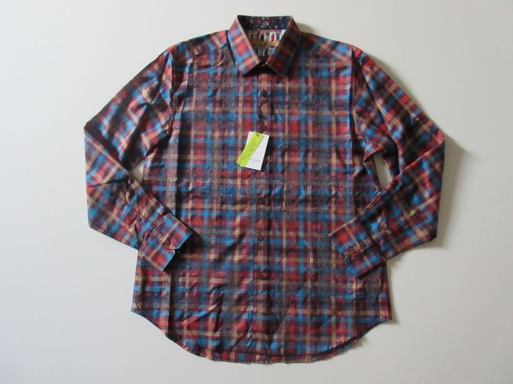 NWT Robert Graham MacCabe Plaid & Paisley Skull Flip Cuff Sport Shirt L $248 #RobertGraham #ButtonFront